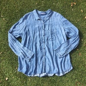 Chambray Tribal Pattern Button down